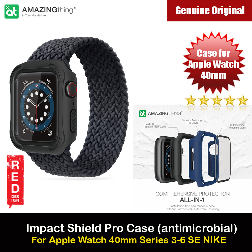 Picture of Amazingthing Impact Shield Pro (antimicrobial) Drop Proof Case with Front Built in Tempered Glass Screen Protector for Apple Watch 40mm Series 4 5 6 SE (Black) Apple Watch 40mm- Apple Watch 40mm Cases, Apple Watch 40mm Covers, iPad Cases and a wide selection of Apple Watch 40mm Accessories in Malaysia, Sabah, Sarawak and Singapore