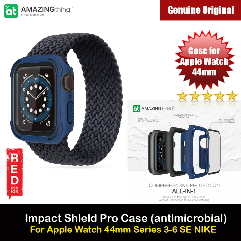 Picture of Amazingthing Impact Shield Pro (antimicrobial) Drop Proof Case with Front Built in Tempered Glass Screen Protector for Apple Watch 44mm Series 4 5 6 SE (Blue) Apple Watch 44mm- Apple Watch 44mm Cases, Apple Watch 44mm Covers, iPad Cases and a wide selection of Apple Watch 44mm Accessories in Malaysia, Sabah, Sarawak and Singapore