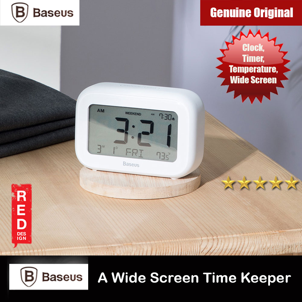 Picture of Baseus Subai Alarm Clock Timekeeper Real Time Temperature Clock LCD Display Clock Office Home Gift Idea Desktop Clock (White) Red Design- Red Design Cases, Red Design Covers, iPad Cases and a wide selection of Red Design Accessories in Malaysia, Sabah, Sarawak and Singapore