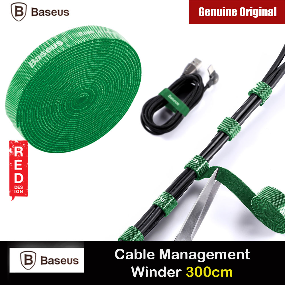 Picture of Baseus Cable Management Winder Velcro hook and loop fastener free cut strap strong velcro Strap (Green 300cm) Red Design- Red Design Cases, Red Design Covers, iPad Cases and a wide selection of Red Design Accessories in Malaysia, Sabah, Sarawak and Singapore