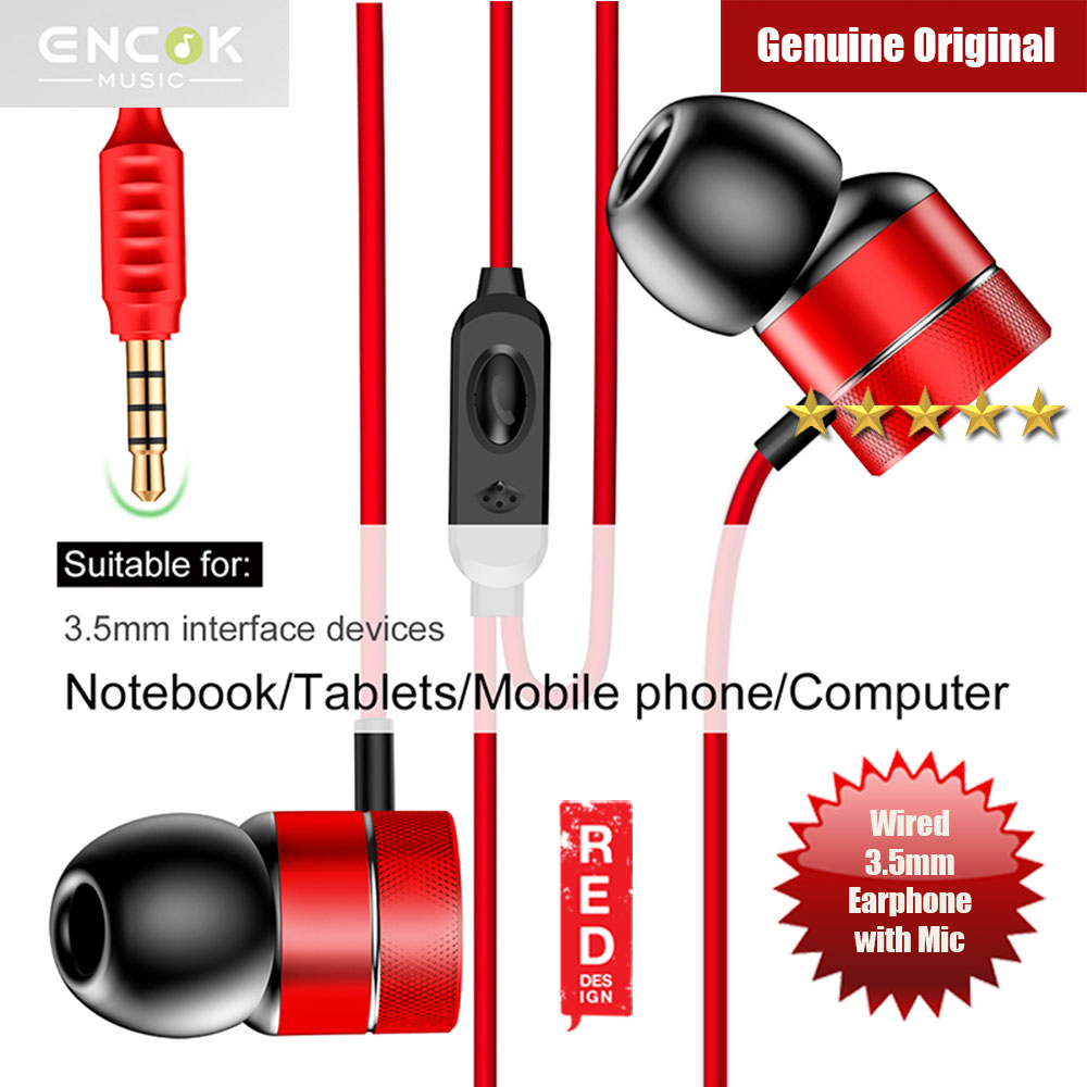 Picture of Baseus Encok H04 Bass Sound Earphone In Ear Sport Earphones with mic for xiaomi iPhone Samsung Headset Laptop Computer Table 3.5mm Interface (Red) Red Design- Red Design Cases, Red Design Covers, iPad Cases and a wide selection of Red Design Accessories in Malaysia, Sabah, Sarawak and Singapore