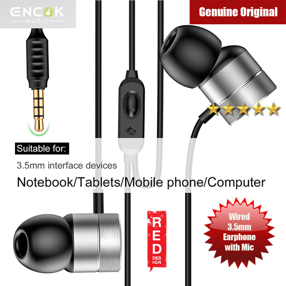 Picture of Baseus Encok H04 Bass Sound Earphone In Ear Sport Earphones with mic for xiaomi iPhone Samsung Headset Laptop Computer Table 3.5mm Interface (Silver) Red Design- Red Design Cases, Red Design Covers, iPad Cases and a wide selection of Red Design Accessories in Malaysia, Sabah, Sarawak and Singapore