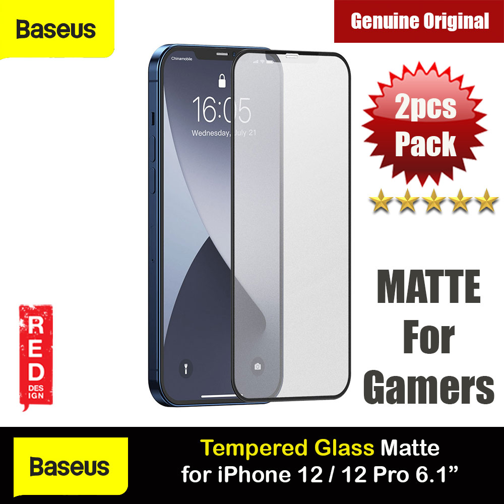 Picture of Baseus 0.25mm Frosted Gaming Gamer Full Screen Anti Finger Print Tempered Glass for iPhone 12 iPhone 12 Pro 6.1 (Matte 2pcs Pack) Apple iPhone 12 6.1- Apple iPhone 12 6.1 Cases, Apple iPhone 12 6.1 Covers, iPad Cases and a wide selection of Apple iPhone 12 6.1 Accessories in Malaysia, Sabah, Sarawak and Singapore