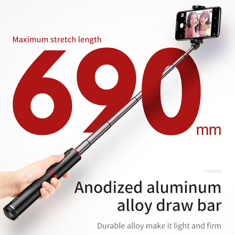 Picture of Baseus Fully Folding Portable Small and Lightweight Standable Selfie Stick Tripod for Mobile Phone with Bluetooth Remote Control for Mobile Phone Less Than 6.5 inches iPhone 11 Pro iPhone 8 iPhone XS Max (Gold)