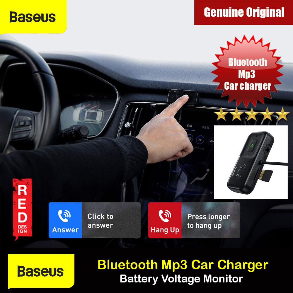 Picture of Baseus Wireless Bluetooth MP3 Dual USB Car Charger Battery Voltaga Monitoring Car Charger Hand Free Call Ca Charger TF Card Aux Music Playback Car Charger Red Design- Red Design Cases, Red Design Covers, iPad Cases and a wide selection of Red Design Accessories in Malaysia, Sabah, Sarawak and Singapore