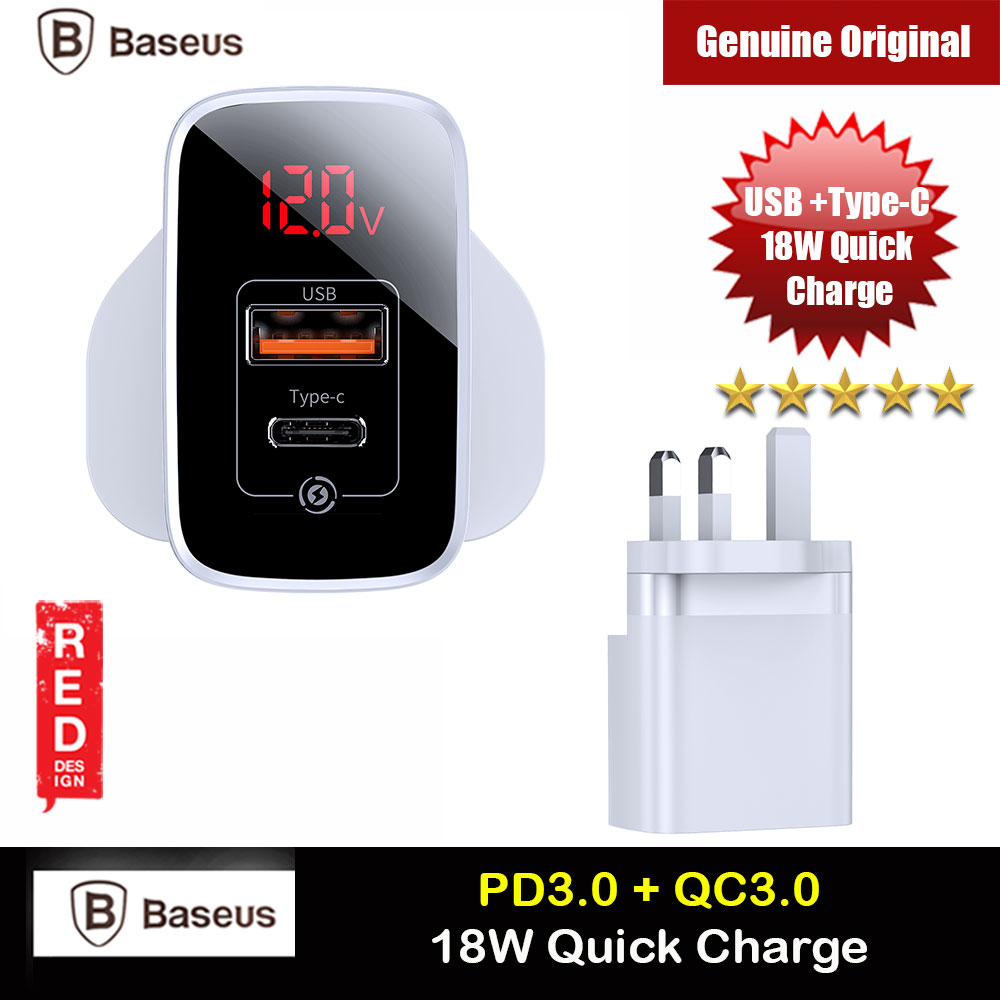 Picture of Baseus PPS Quick Charge PD18W Quick Charger Protocol Charger for Apple Samsung Huawei Mi USB TYPE C Ports Power Charger (White) iPhone Cases - iPhone 12, iPhone 12 Pro max, iPhone 11, iPhone 11 Pro Max, iPhone XS Max, iPhone X,iPhone SE,Galaxy Note 20 Ultra ,iPhone 8 Plus Cases Malaysia,iPad Air Pro Cases and a wide selection of Accessories in Malaysia, Sabah, Sarawak and Singapore.