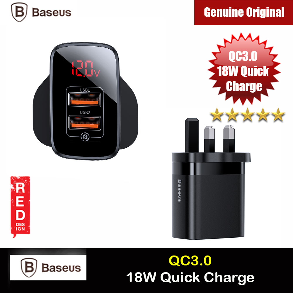 Picture of Baseus QC3.0 Quick Charge 18W Charger for Apple Samsung Huawei Mi (Black) Red Design- Red Design Cases, Red Design Covers, iPad Cases and a wide selection of Red Design Accessories in Malaysia, Sabah, Sarawak and Singapore