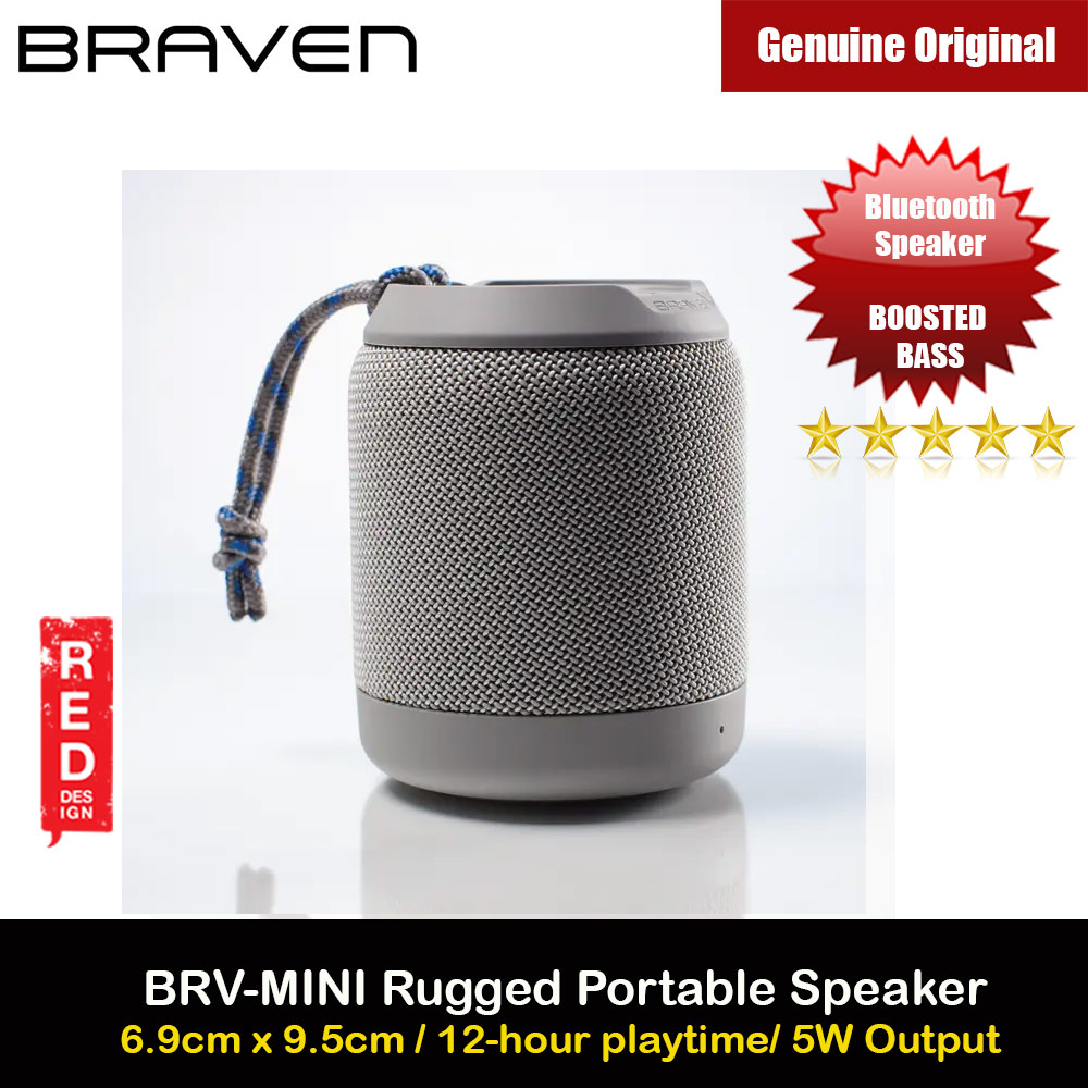 Picture of Braven Speaker BRV Mini Portable Bluetooth Speaker 5W Boosted Bass Loud Speaker Waterproof IPX7 Speaker with Microphone Handfree Call Long Hours Play Speaker (Grey) Red Design- Red Design Cases, Red Design Covers, iPad Cases and a wide selection of Red Design Accessories in Malaysia, Sabah, Sarawak and Singapore