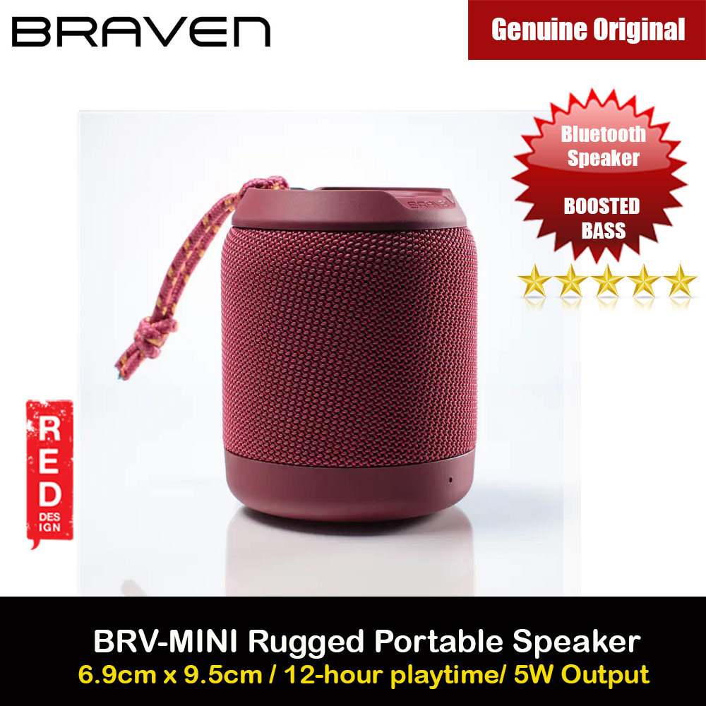 Picture of Braven Speaker BRV Mini Portable Bluetooth Speaker 5W Boosted Bass Loud Speaker Waterproof IPX7 Speaker with Microphone Handfree Call Long Hours Play Speaker (Red) Red Design- Red Design Cases, Red Design Covers, iPad Cases and a wide selection of Red Design Accessories in Malaysia, Sabah, Sarawak and Singapore