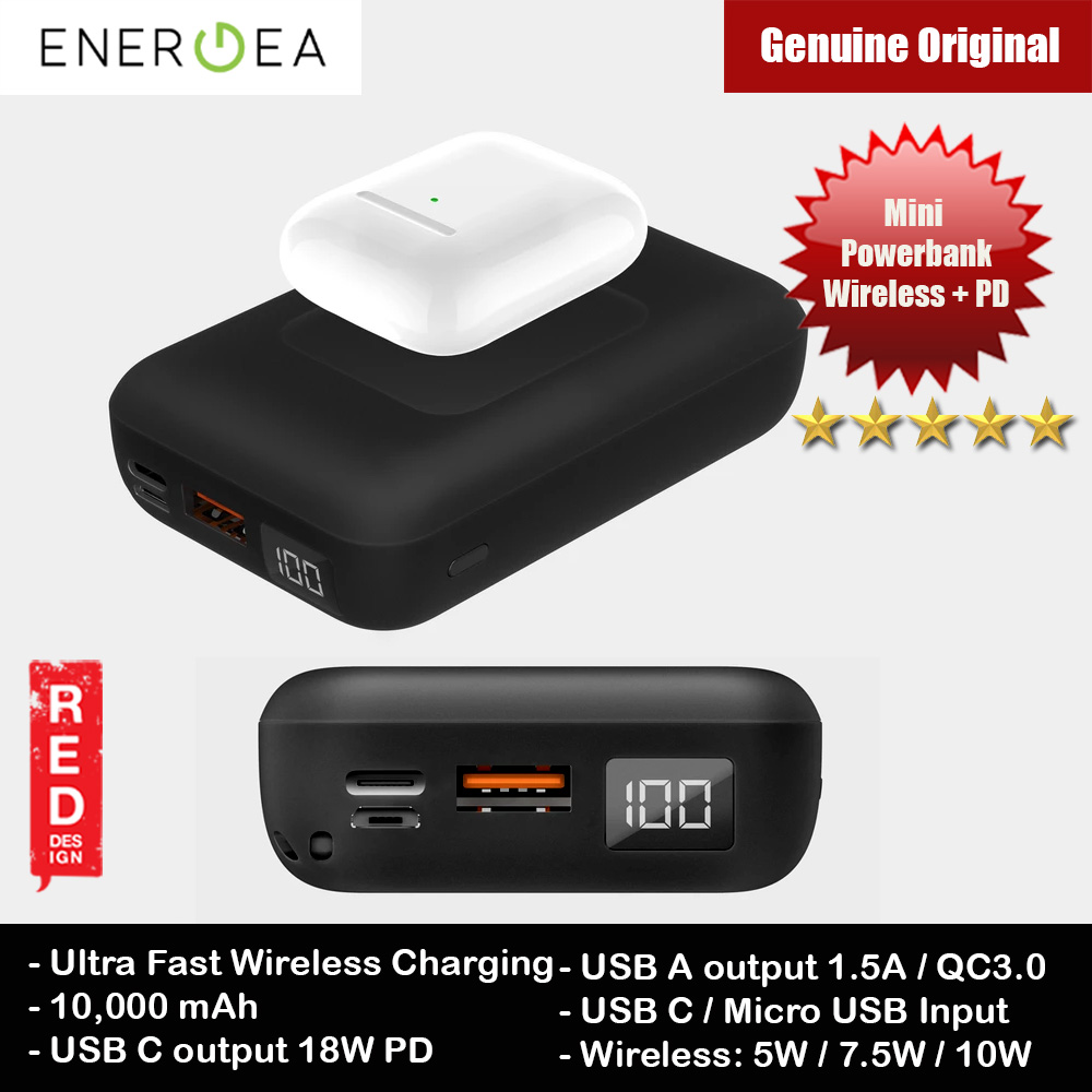 Picture of Energea  Compac Wireless PD USB C PD Power Delivery 18W Wireless Power Bank 10000mAh for iPhone Huawei Samsung Red Design- Red Design Cases, Red Design Covers, iPad Cases and a wide selection of Red Design Accessories in Malaysia, Sabah, Sarawak and Singapore
