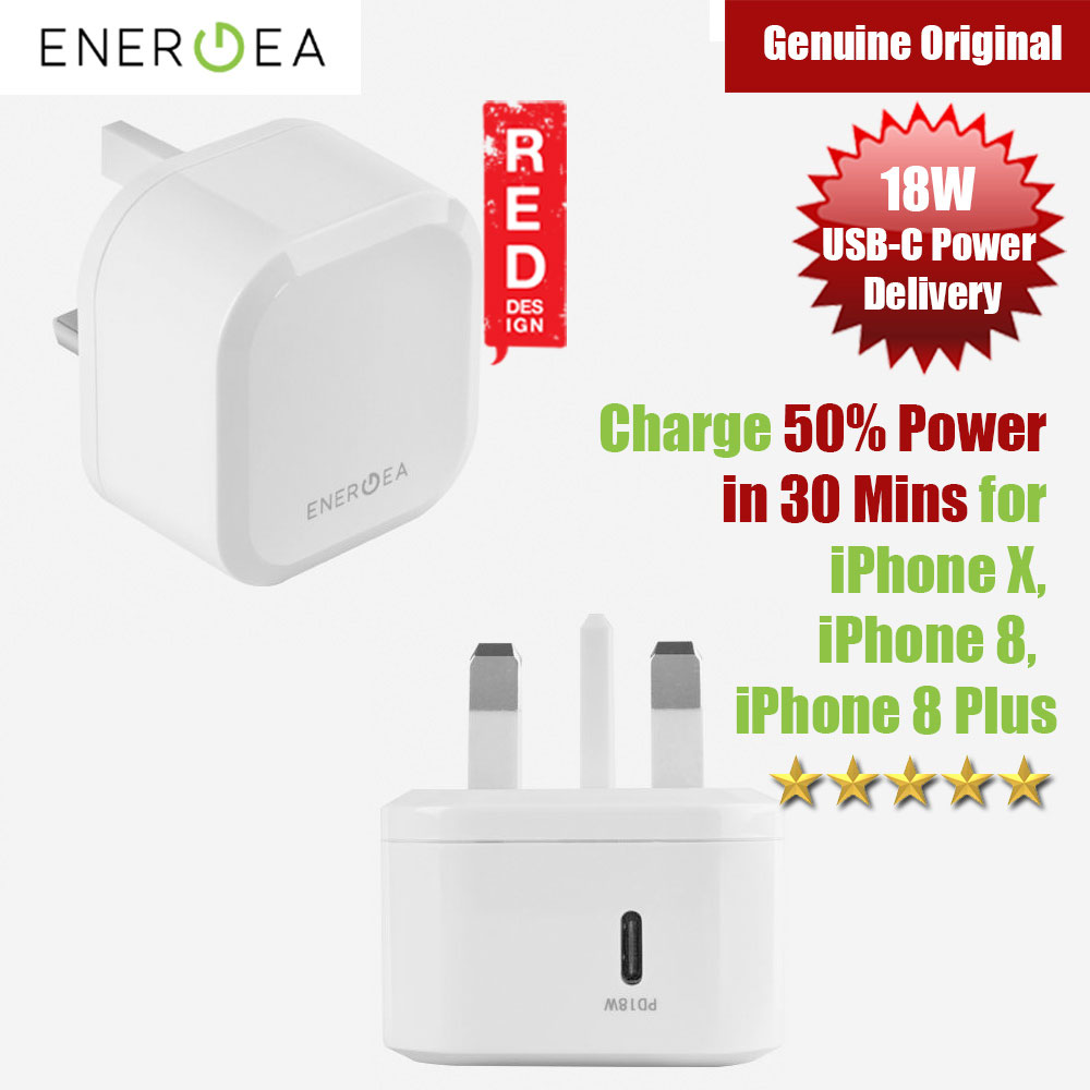 Picture of Energea Ampcharge PD18 Fast Charger USB-C Power Delivery Wall Charger for New Macbook iPhone XS Max iPhone 8 Plus Red Design- Red Design Cases, Red Design Covers, iPad Cases and a wide selection of Red Design Accessories in Malaysia, Sabah, Sarawak and Singapore