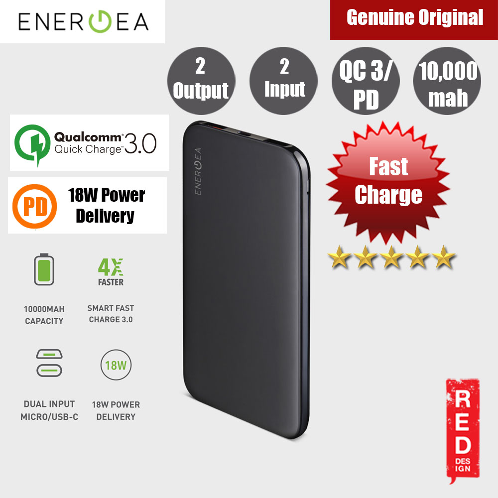 Picture of Energea  SLIMPAC PQ1201 USB C PD Power Delivery 18W Power Bank 10000mAh for iPhone Huawei Samsung Red Design- Red Design Cases, Red Design Covers, iPad Cases and a wide selection of Red Design Accessories in Malaysia, Sabah, Sarawak and Singapore