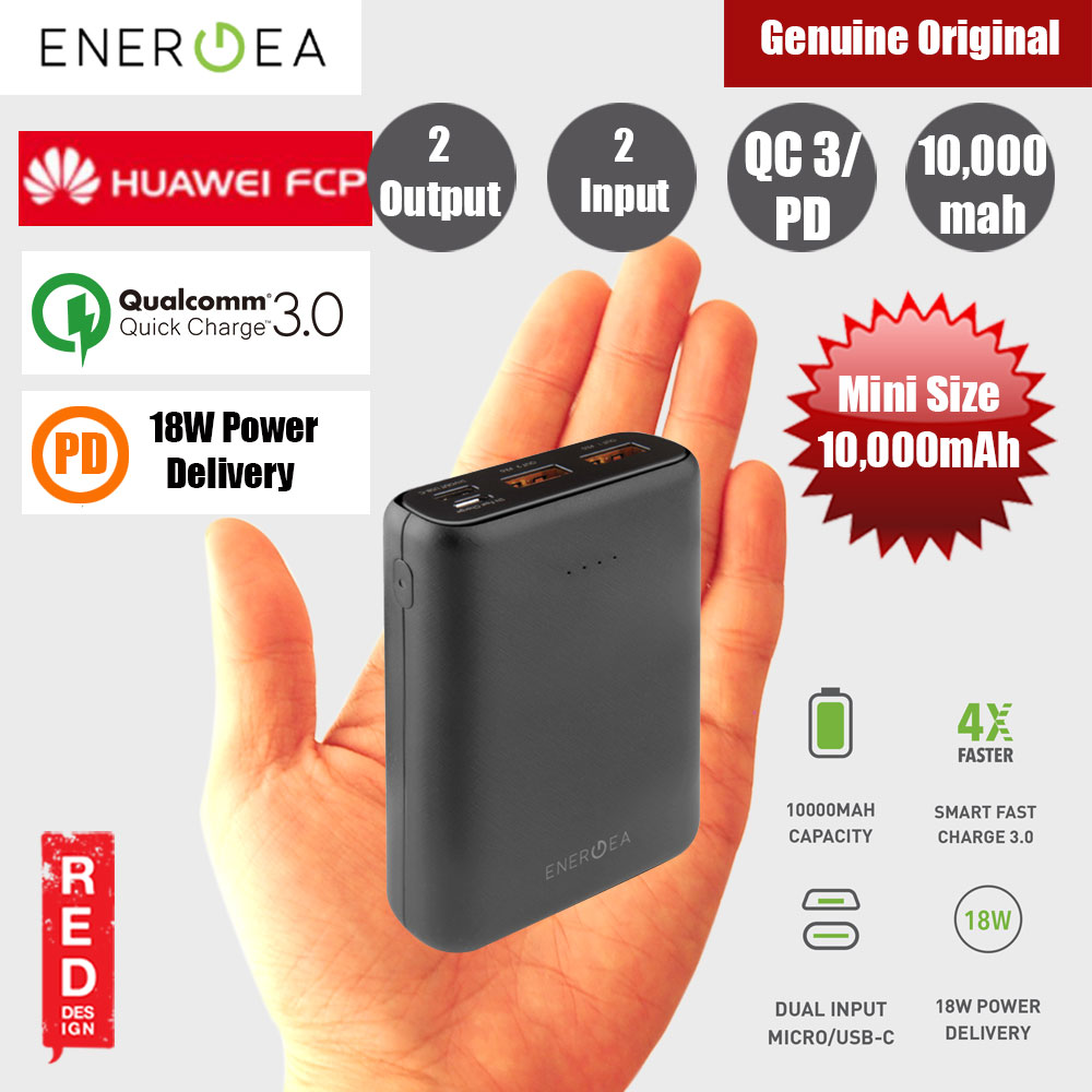 Picture of Energea  Compac Mini USB C PD Power Delivery 18W Power Bank 10000mAh for iPhone Huawei Samsung Red Design- Red Design Cases, Red Design Covers, iPad Cases and a wide selection of Red Design Accessories in Malaysia, Sabah, Sarawak and Singapore