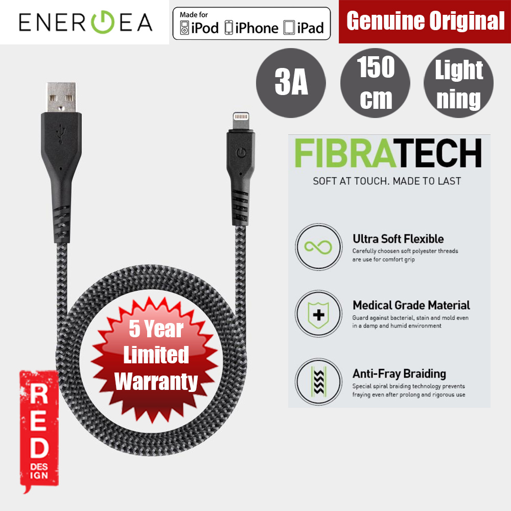 Picture of Energea FIBRA TOUGH Lightning Cable for Apple iPhone X iPhone 8 Plus iPad 150cm (Black) Red Design- Red Design Cases, Red Design Covers, iPad Cases and a wide selection of Red Design Accessories in Malaysia, Sabah, Sarawak and Singapore