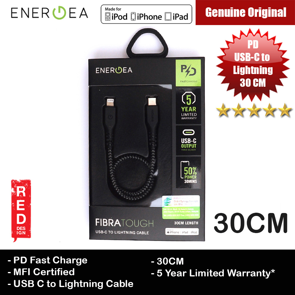 Picture of Energea FIBRA TOUGH Type C to Lightning PD Fast Charge 60W Short Cable for Apple iPhone 11 Pro iPhone 11 Pro Max 30cm (Black) Red Design- Red Design Cases, Red Design Covers, iPad Cases and a wide selection of Red Design Accessories in Malaysia, Sabah, Sarawak and Singapore
