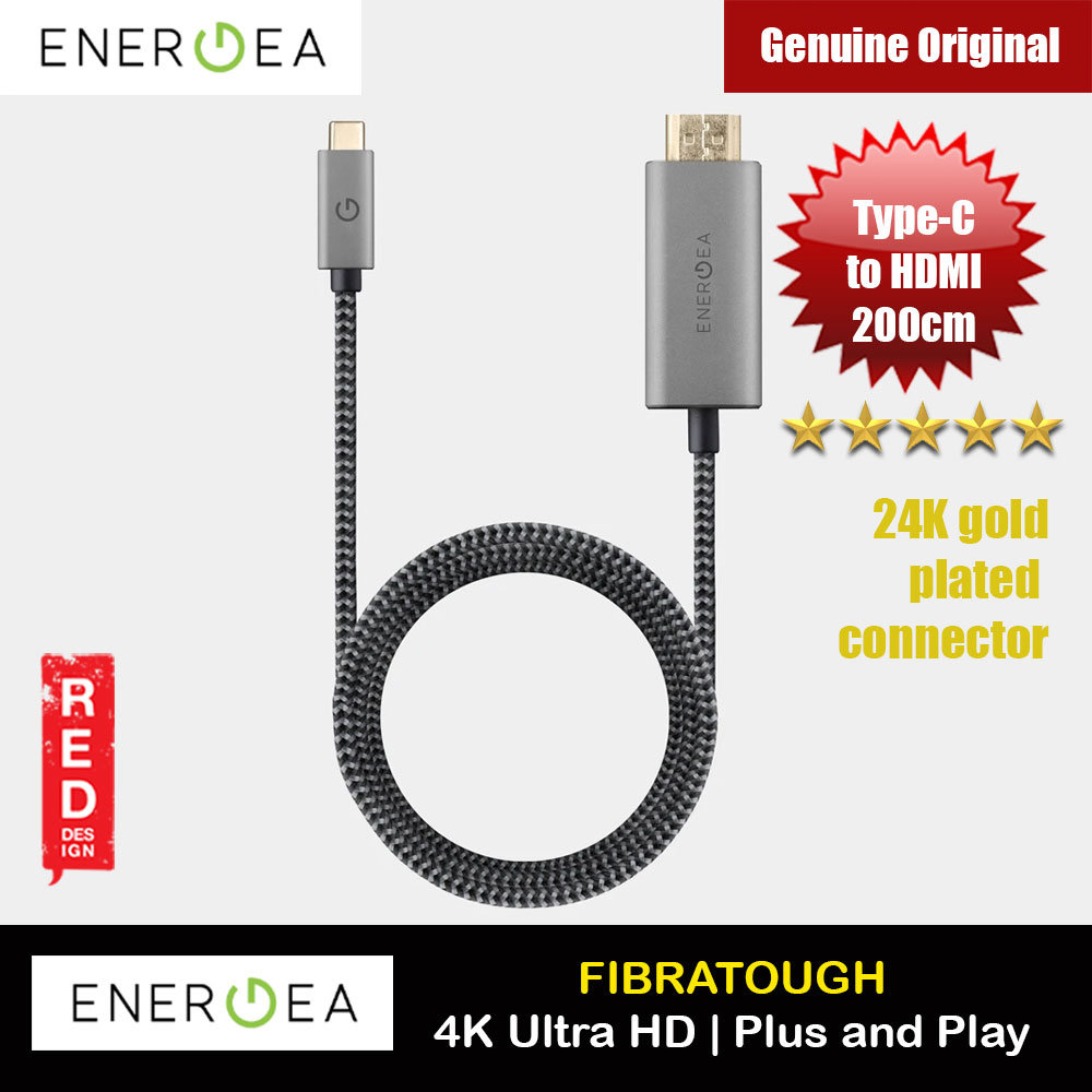 Picture of Energea Fibra Tough 24K Gold Plate 4K USB C  to HDMI Type C to HDMI Cable for Macbook Laptop with Type C Port (200cm) Red Design- Red Design Cases, Red Design Covers, iPad Cases and a wide selection of Red Design Accessories in Malaysia, Sabah, Sarawak and Singapore