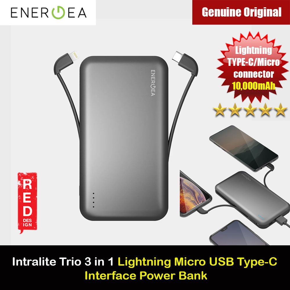 Picture of Energea Intralite Trio Power Bank with MFI Integrated Lightning Cable Type C Cable Micro USB cable 10000mAh Red Design- Red Design Cases, Red Design Covers, iPad Cases and a wide selection of Red Design Accessories in Malaysia, Sabah, Sarawak and Singapore