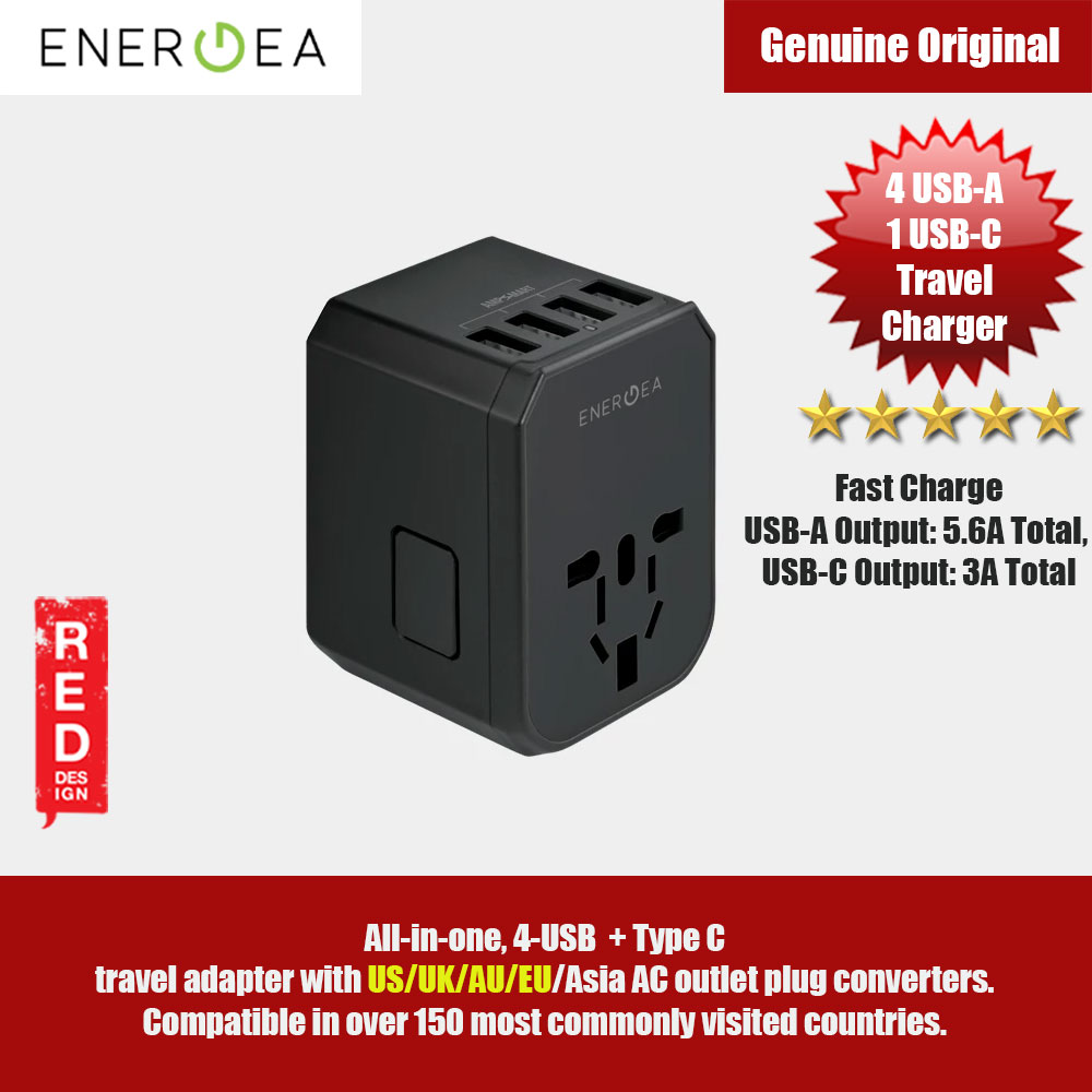 Picture of Energea Travel World Adapter 4 USB-A + 1 USB-C Travel Adapter with US/UK/AU/EU/Asia compatibility Red Design- Red Design Cases, Red Design Covers, iPad Cases and a wide selection of Red Design Accessories in Malaysia, Sabah, Sarawak and Singapore