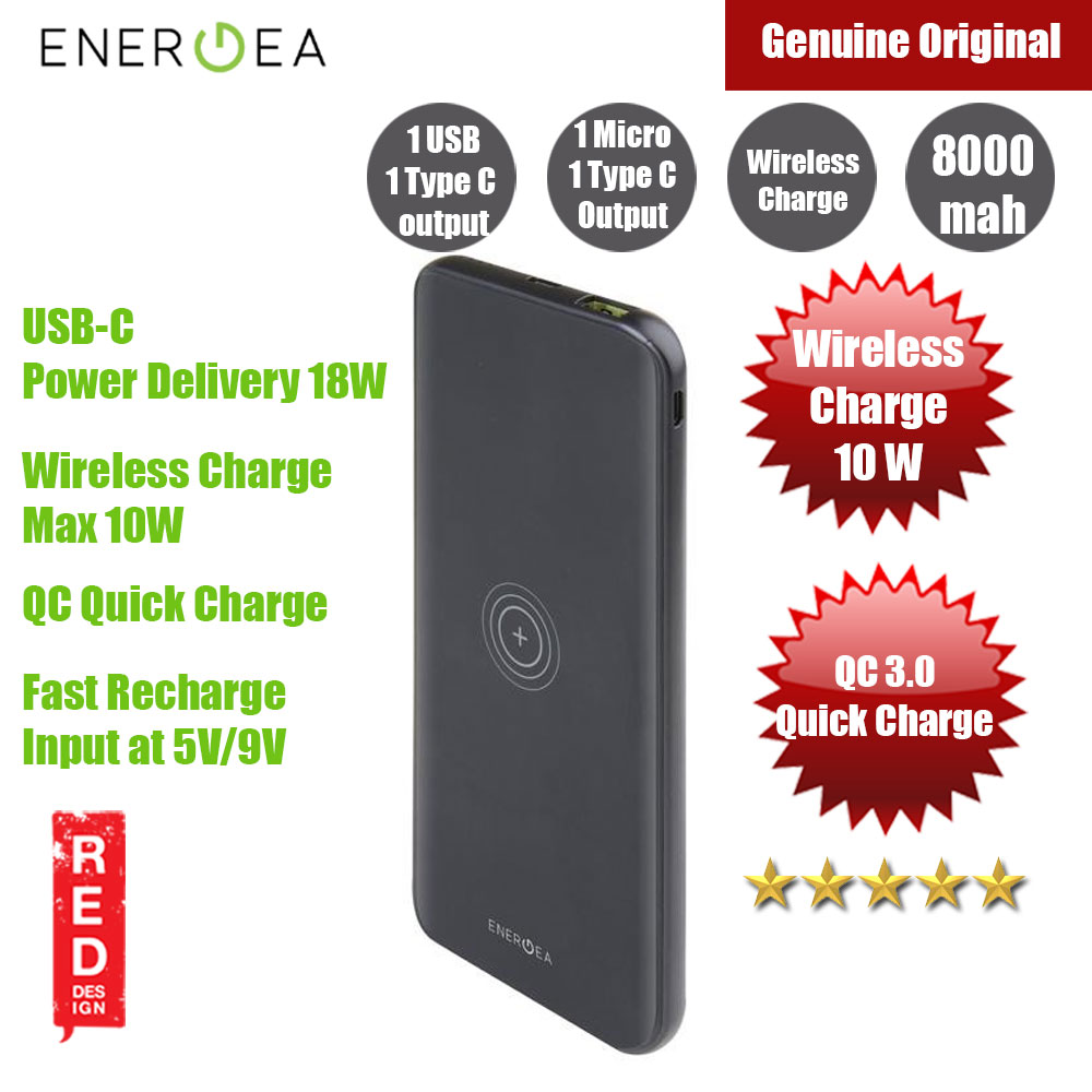 Picture of Energea Enerpac 8000WPF 8000mAh Power Bank with Wireless Charging (Black) Red Design- Red Design Cases, Red Design Covers, iPad Cases and a wide selection of Red Design Accessories in Malaysia, Sabah, Sarawak and Singapore