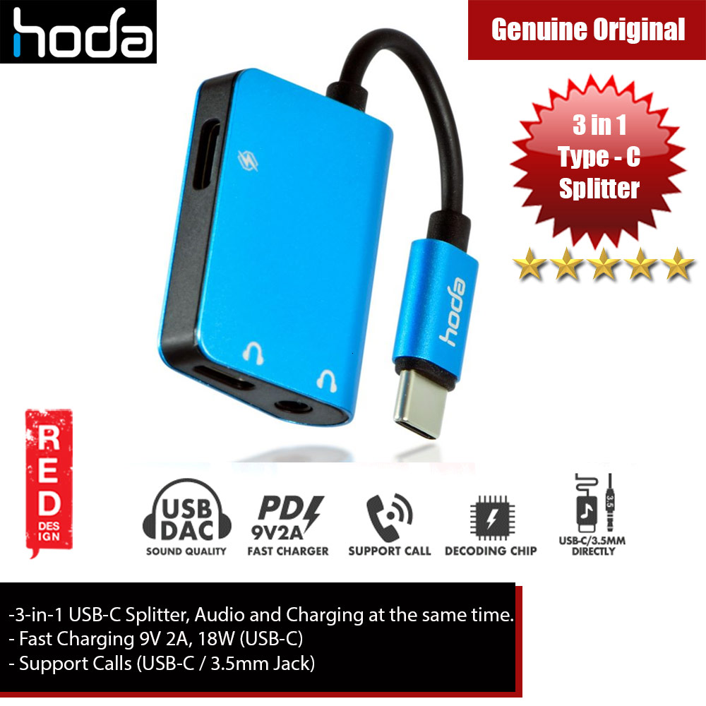 Picture of Hoda 3 in1 USB Splitter USB-C to Audio, 3.5mm Audio and PD Fast Charger for Galaxy Note 10 Plus (Blue) iPhone Cases - iPhone 12, iPhone 12 Pro max, iPhone 11, iPhone 11 Pro Max, iPhone XS Max, iPhone X,iPhone SE,Galaxy Note 20 Ultra ,iPhone 8 Plus Cases Malaysia,iPad Air Pro Cases and a wide selection of Accessories in Malaysia, Sabah, Sarawak and Singapore.