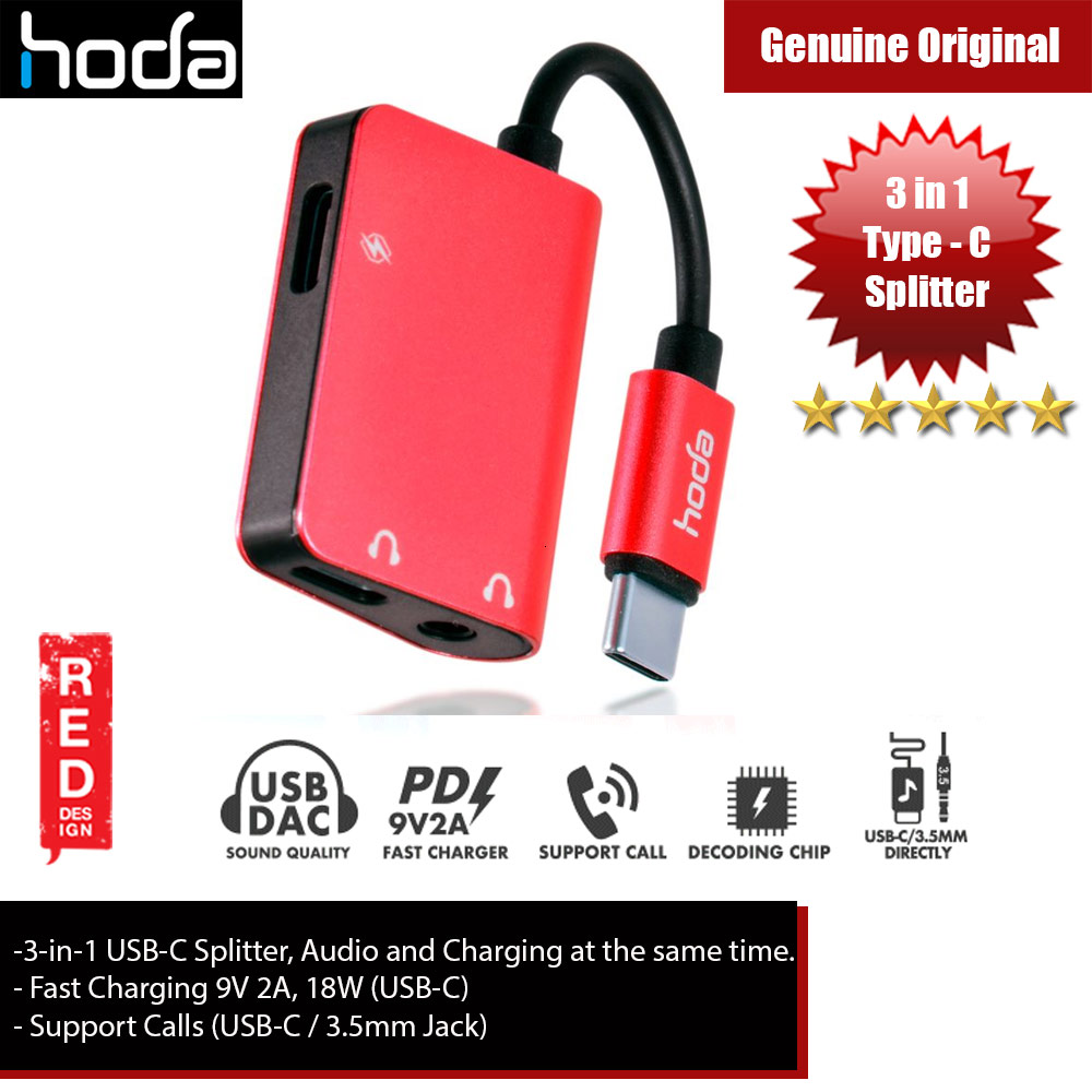 Picture of Hoda 3 in1 USB Splitter USB-C to Audio, 3.5mm Audio and PD Fast Charger for Galaxy Note 10 Plus (Red) iPhone Cases - iPhone 12, iPhone 12 Pro max, iPhone 11, iPhone 11 Pro Max, iPhone XS Max, iPhone X,iPhone SE,Galaxy Note 20 Ultra ,iPhone 8 Plus Cases Malaysia,iPad Air Pro Cases and a wide selection of Accessories in Malaysia, Sabah, Sarawak and Singapore.