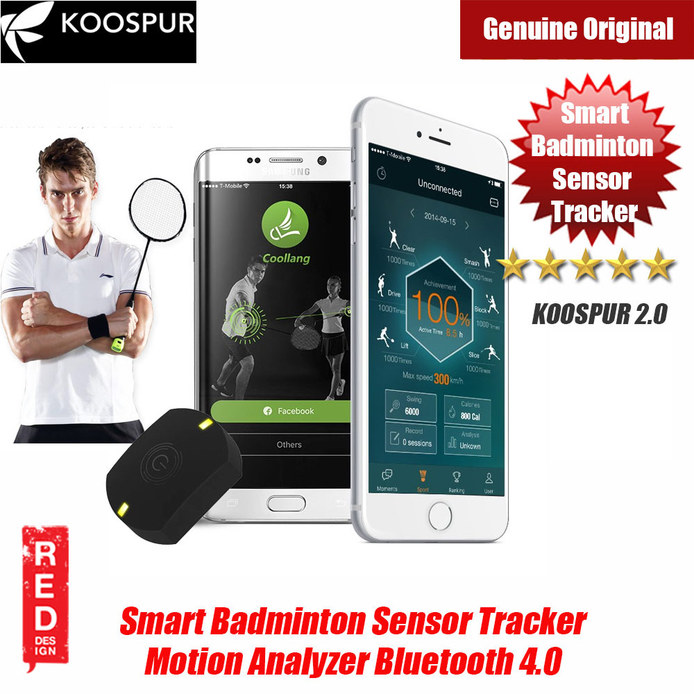 Picture of KOOSPUR 2.0 Smart Badminton Racket Forehand Backhand Smash Swing Speed Sensor Tracker Motion Analyzer Bluetooth 4.0 Sport Tracker Compatible with Android IOS Smartphone (Black) Red Design- Red Design Cases, Red Design Covers, iPad Cases and a wide selection of Red Design Accessories in Malaysia, Sabah, Sarawak and Singapore