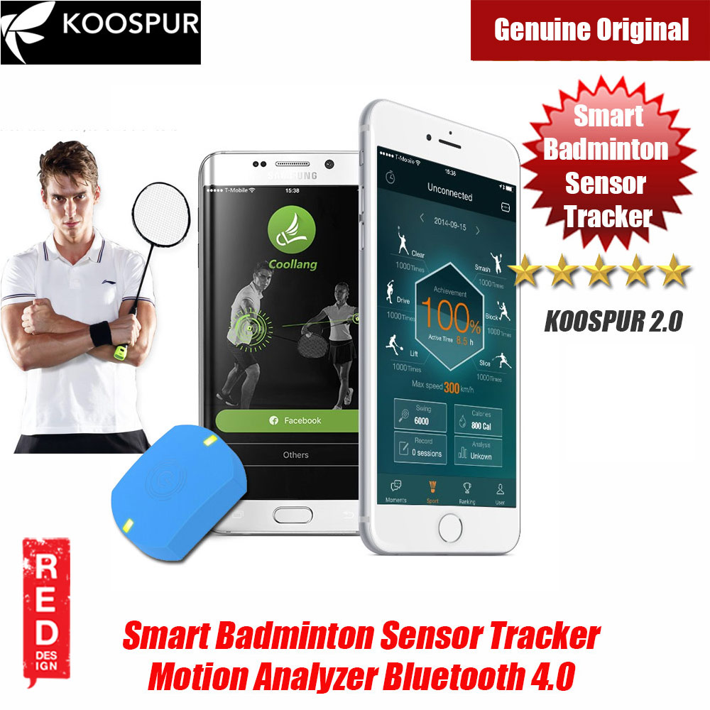 Picture of KOOSPUR 2.0 Smart Badminton Racket Forehand Backhand Smash Swing Speed Sensor Tracker Motion Analyzer Bluetooth 4.0 Sport Tracker Compatible with Android IOS Smartphone (Blue) Red Design- Red Design Cases, Red Design Covers, iPad Cases and a wide selection of Red Design Accessories in Malaysia, Sabah, Sarawak and Singapore