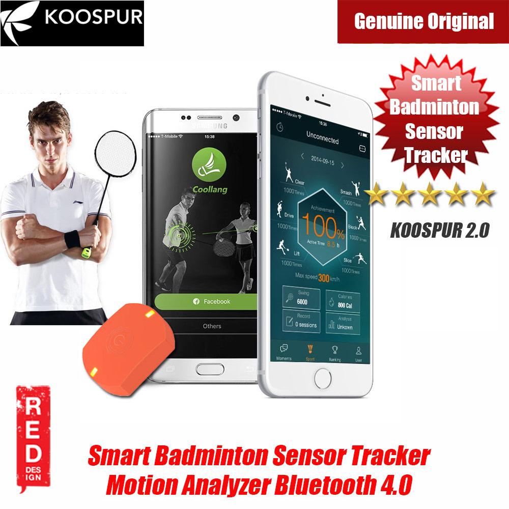 Picture of KOOSPUR 2.0 Smart Badminton Racket Forehand Backhand Smash Swing Speed Sensor Tracker Motion Analyzer Bluetooth 4.0 Sport Tracker Compatible with Android IOS Smartphone (Orange) Red Design- Red Design Cases, Red Design Covers, iPad Cases and a wide selection of Red Design Accessories in Malaysia, Sabah, Sarawak and Singapore