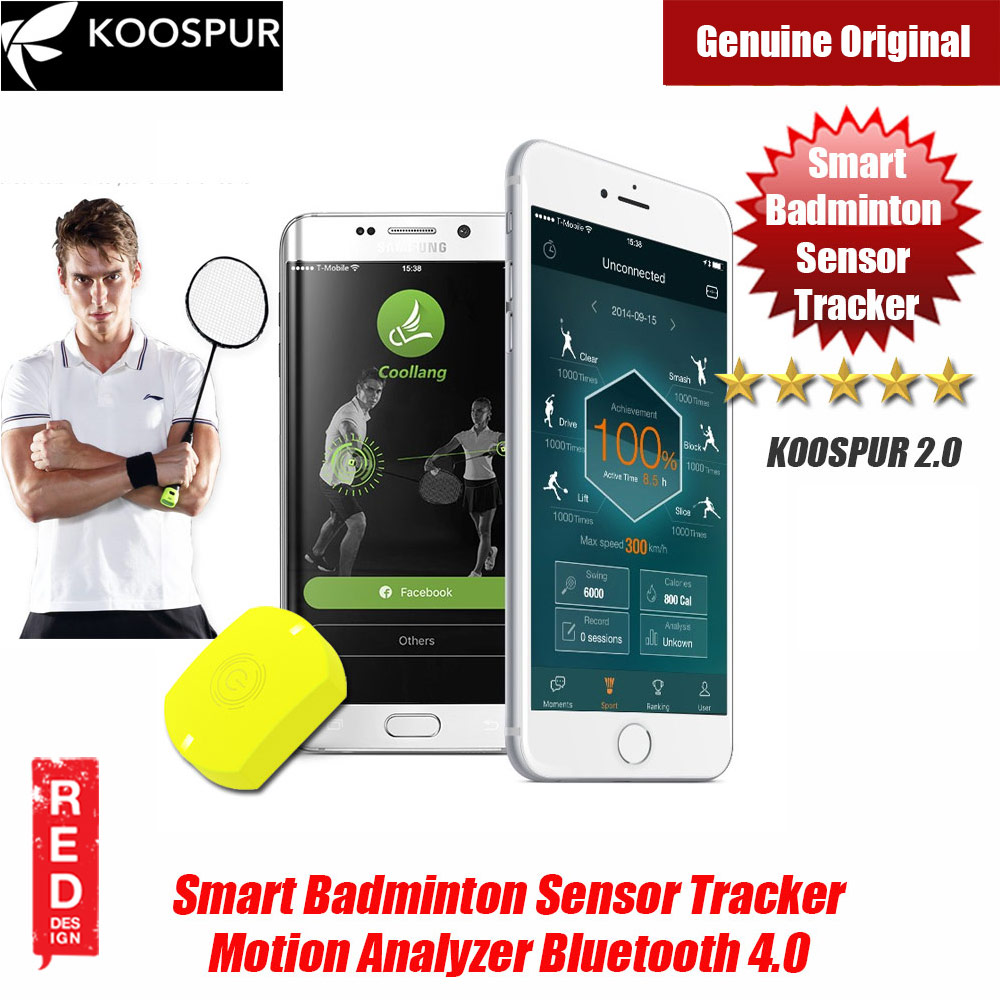 Picture of KOOSPUR 2.0 Smart Badminton Racket Forehand Backhand Smash Swing Speed Sensor Tracker Motion Analyzer Bluetooth 4.0 Sport Tracker Compatible with Android IOS Smartphone (Yellow) Red Design- Red Design Cases, Red Design Covers, iPad Cases and a wide selection of Red Design Accessories in Malaysia, Sabah, Sarawak and Singapore