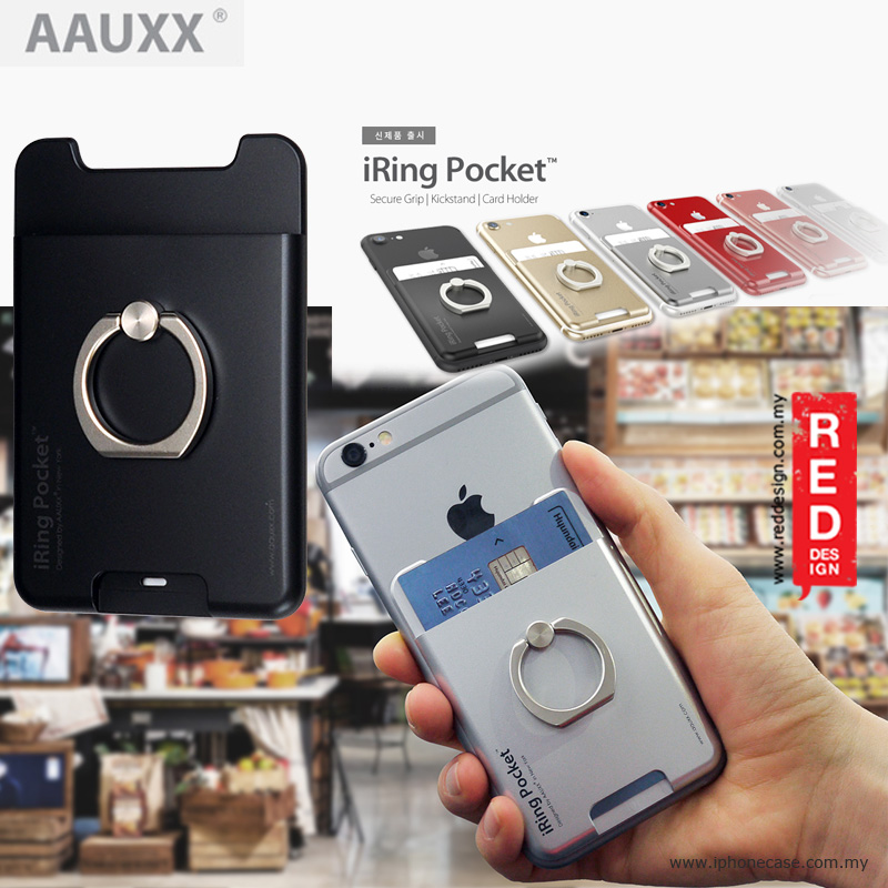 Picture of AAUXX iRing Pocket Card Holder With Universal Phone Grip and Stand - Black Red Design- Red Design Cases, Red Design Covers, iPad Cases and a wide selection of Red Design Accessories in Malaysia, Sabah, Sarawak and Singapore