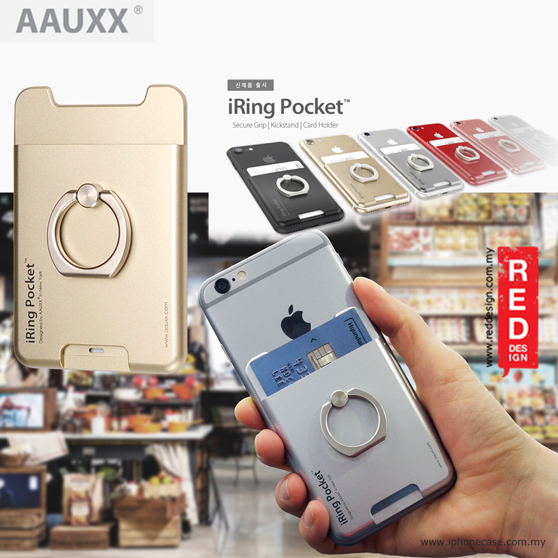 Picture of AAUXX iRing Pocket Card Holder With Universal Phone Grip and Stand - Champagne Gold Red Design- Red Design Cases, Red Design Covers, iPad Cases and a wide selection of Red Design Accessories in Malaysia, Sabah, Sarawak and Singapore