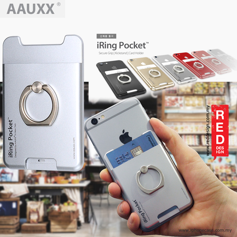 Picture of AAUXX iRing Pocket Card Holder With Universal Phone Grip and Stand - Glacier Silver Red Design- Red Design Cases, Red Design Covers, iPad Cases and a wide selection of Red Design Accessories in Malaysia, Sabah, Sarawak and Singapore