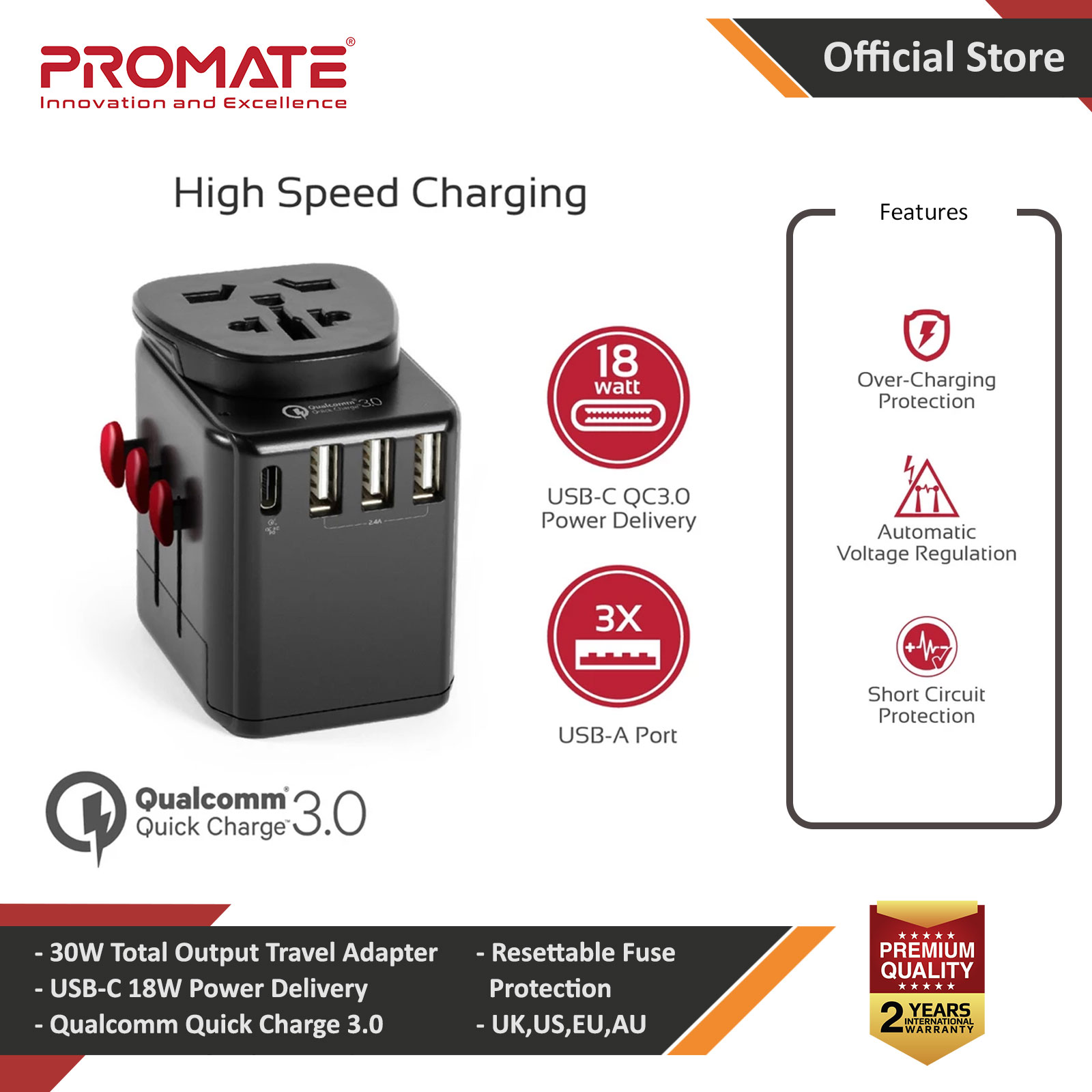 Picture of Promate Universal Travel Adapter Worlds First Grounded Power Adapter with Resettable Fuse 2.4A 3 USB Port and Qualcomm QC3.0 USB Type-C 18W Power Delivery Port, Worldwide AC Wall Outlet Adapter for UK Red Design- Red Design Cases, Red Design Covers, iPad Cases and a wide selection of Red Design Accessories in Malaysia, Sabah, Sarawak and Singapore