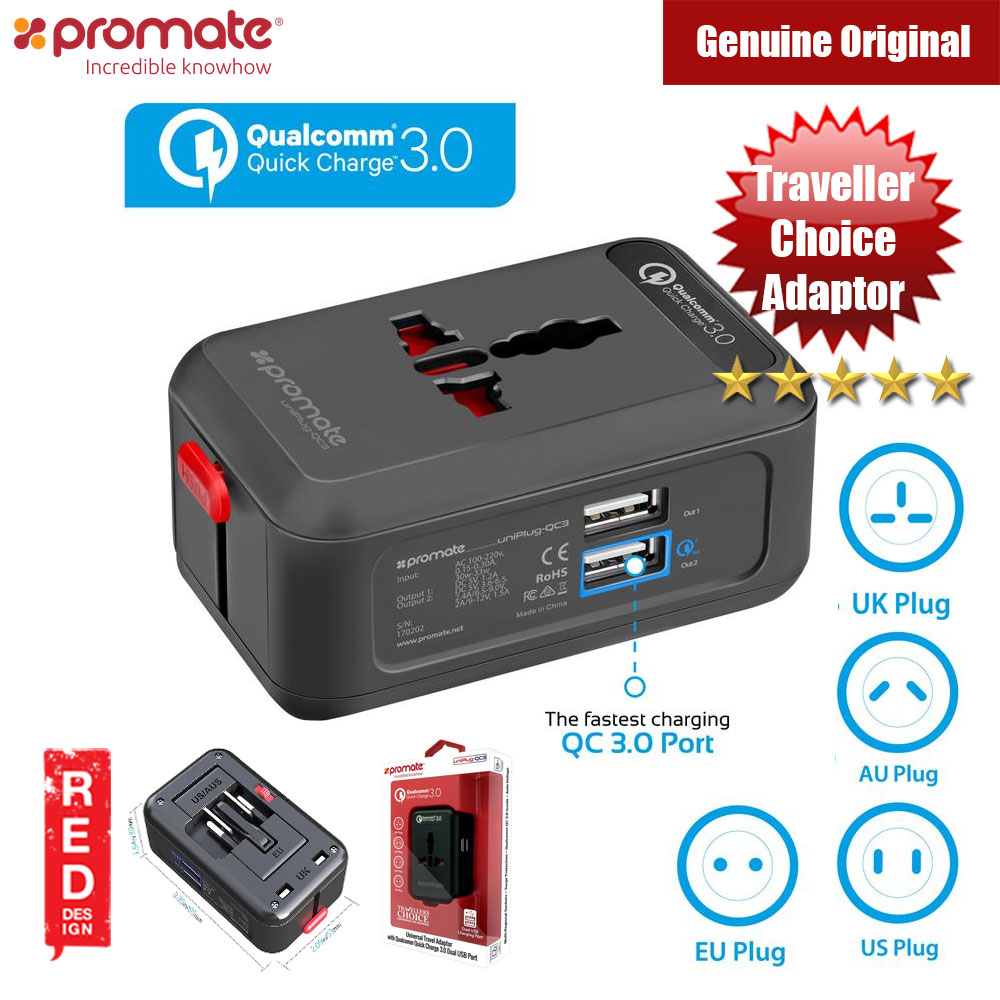 Picture of Promate Universal Travel Adaptor UK EU US  AU with Qualcomm Quick Charge 3.0 Dual USB Port Red Design- Red Design Cases, Red Design Covers, iPad Cases and a wide selection of Red Design Accessories in Malaysia, Sabah, Sarawak and Singapore