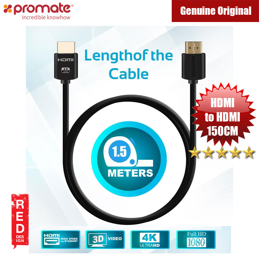 Picture of Promate All-in-One HDMI with Ethernet Cable HDMI Cable 150cm Red Design- Red Design Cases, Red Design Covers, iPad Cases and a wide selection of Red Design Accessories in Malaysia, Sabah, Sarawak and Singapore