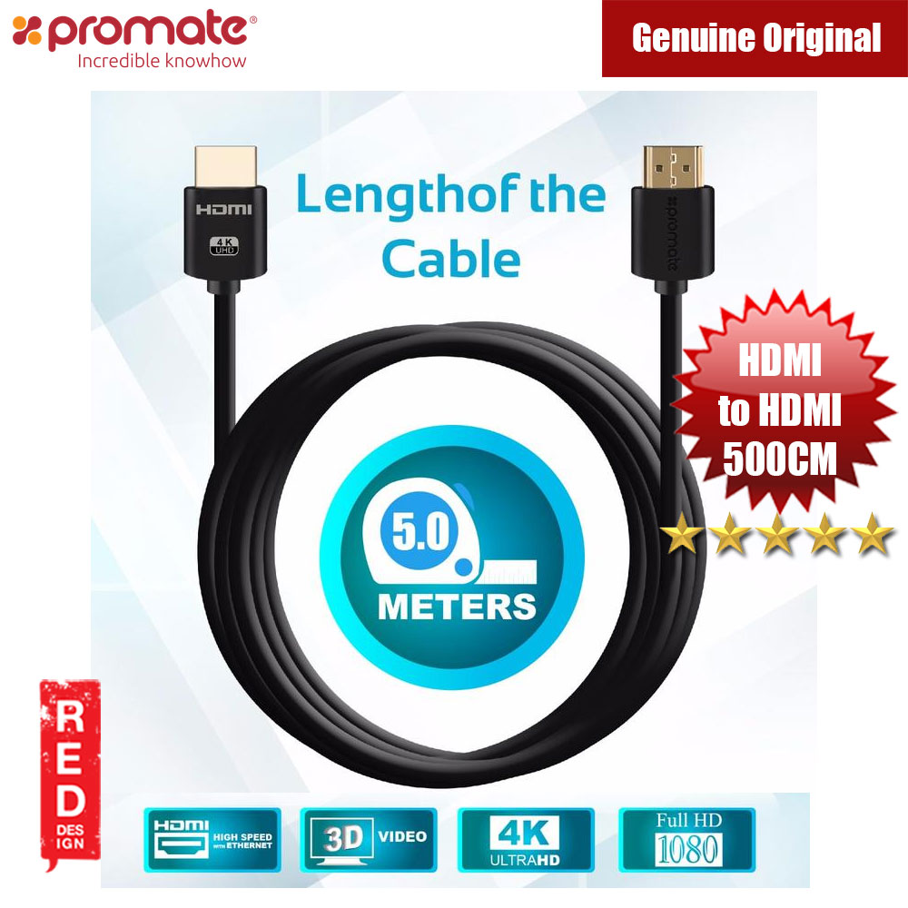 Picture of Promate All-in-One HDMI with Ethernet Cable HDMI Cable 500cm Red Design- Red Design Cases, Red Design Covers, iPad Cases and a wide selection of Red Design Accessories in Malaysia, Sabah, Sarawak and Singapore