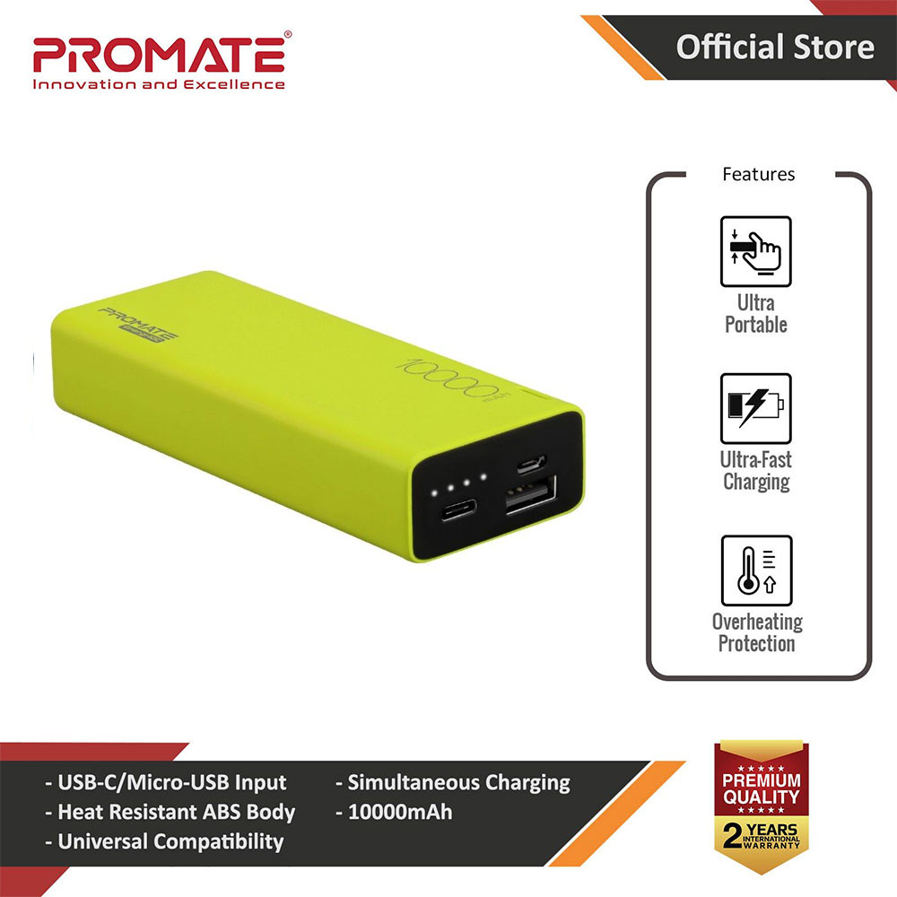 Picture of Promate USB C Power Bank Ultra-Slim 10000mAh Input Output Type-C External Battery Pack with 2.1A USB Charging Port and Over-Heating Protection for iPhone Samsung Pixel Type-c iPad Pro Energi-10C (Green) Red Design- Red Design Cases, Red Design Covers, iPad Cases and a wide selection of Red Design Accessories in Malaysia, Sabah, Sarawak and Singapore
