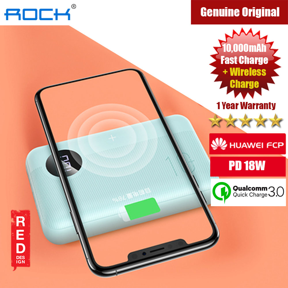 Picture of Rock P75 Mini PD Fast Charge and Wireless Power Bank 10000mah for iPhone Huawei Samsung (Tiffiny Blue) iPhone Cases - iPhone 12, iPhone 12 Pro max, iPhone 11, iPhone 11 Pro Max, iPhone XS Max, iPhone X,iPhone SE,Galaxy Note 20 Ultra ,iPhone 8 Plus Cases Malaysia,iPad Air Pro Cases and a wide selection of Accessories in Malaysia, Sabah, Sarawak and Singapore.