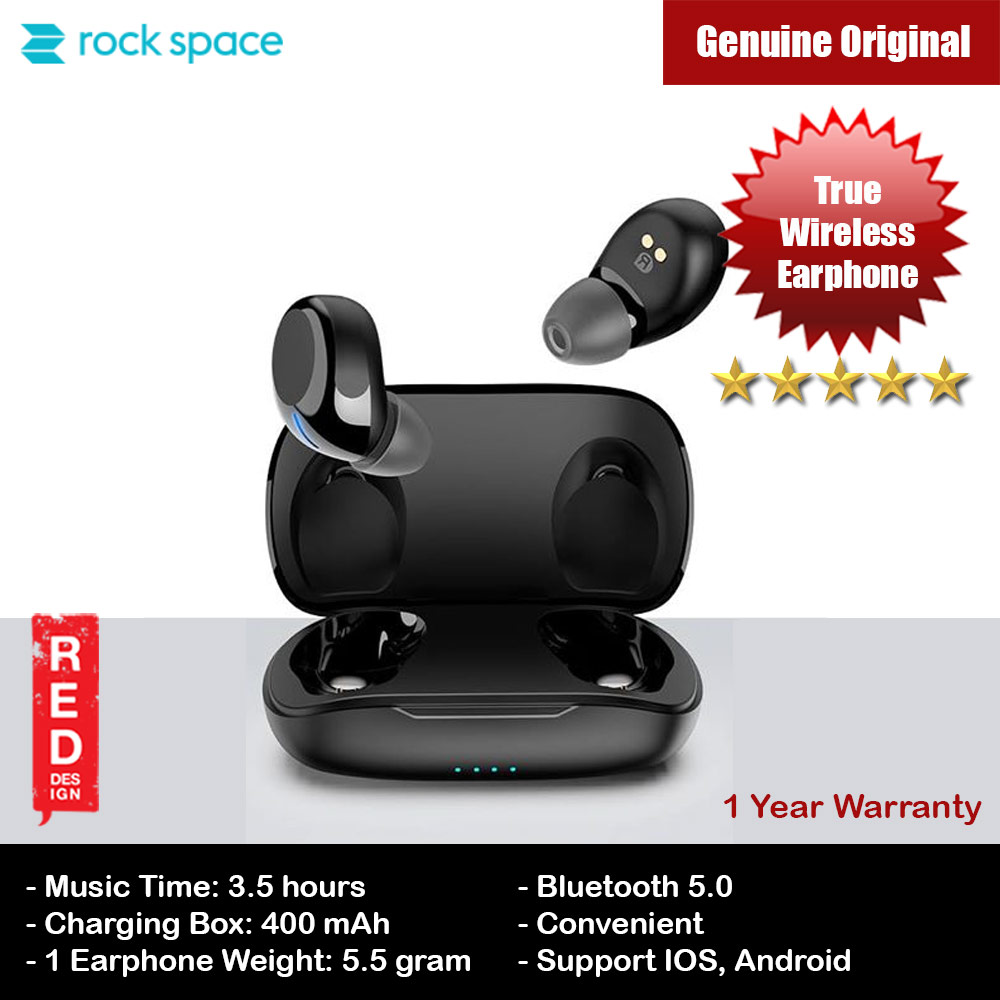 Picture of Rock Space Lightweight Bluetooth 5.0 TWS True Wireless Bluetooth Earphone Earbuds for iPhone and Android Smartphone (Black) Red Design- Red Design Cases, Red Design Covers, iPad Cases and a wide selection of Red Design Accessories in Malaysia, Sabah, Sarawak and Singapore