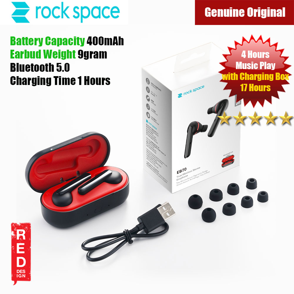Picture of Rock Space EB70 True Wireless Stereo Earphone (Black) Red Design- Red Design Cases, Red Design Covers, iPad Cases and a wide selection of Red Design Accessories in Malaysia, Sabah, Sarawak and Singapore