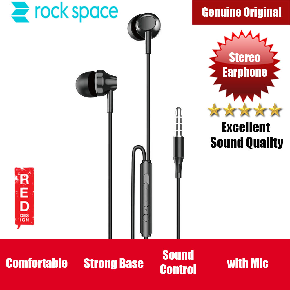 Picture of ROCK SPACE ES01 In-ear HIFI  High Quality Strong Bass Stereo Earphone with Mic Volume Track Control (Black) Red Design- Red Design Cases, Red Design Covers, iPad Cases and a wide selection of Red Design Accessories in Malaysia, Sabah, Sarawak and Singapore