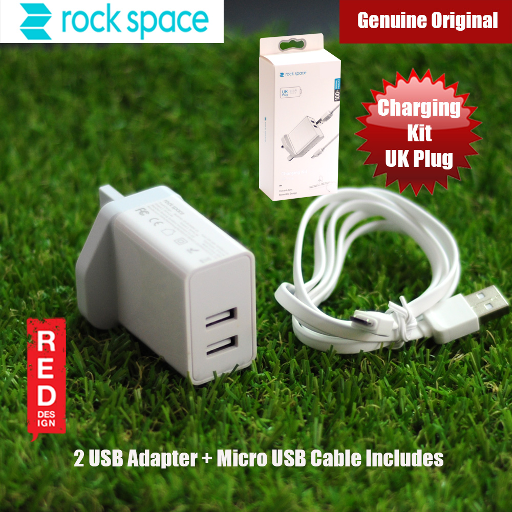 Picture of Rock Space T16 Dual Port Charger Kit with Micro USB Cable (UK White) Red Design- Red Design Cases, Red Design Covers, iPad Cases and a wide selection of Red Design Accessories in Malaysia, Sabah, Sarawak and Singapore