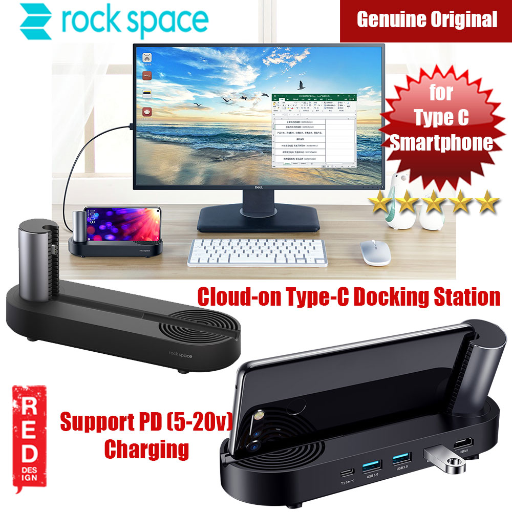 Picture of Rock Space Cloud on Type C Docking Station with HDMI PD Charge Support Honor V20 (Black) Red Design- Red Design Cases, Red Design Covers, iPad Cases and a wide selection of Red Design Accessories in Malaysia, Sabah, Sarawak and Singapore