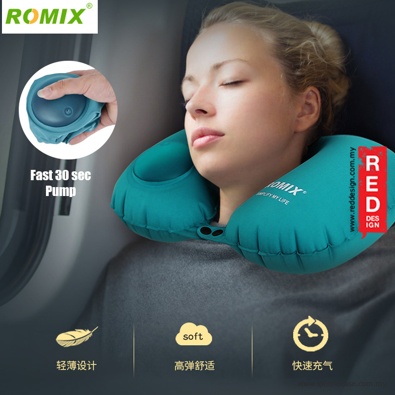 Picture of Romix Travel U Shape Inflatable and Foldable Travel Neck Pillow - Blue Red Design- Red Design Cases, Red Design Covers, iPad Cases and a wide selection of Red Design Accessories in Malaysia, Sabah, Sarawak and Singapore