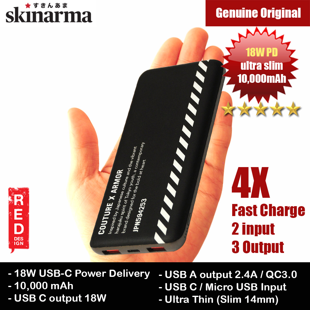 Picture of Skinarma Ultra Slim 18W PD Power Delivery Fast Charge Power Bank 10000mAh (Bando Black) Red Design- Red Design Cases, Red Design Covers, iPad Cases and a wide selection of Red Design Accessories in Malaysia, Sabah, Sarawak and Singapore