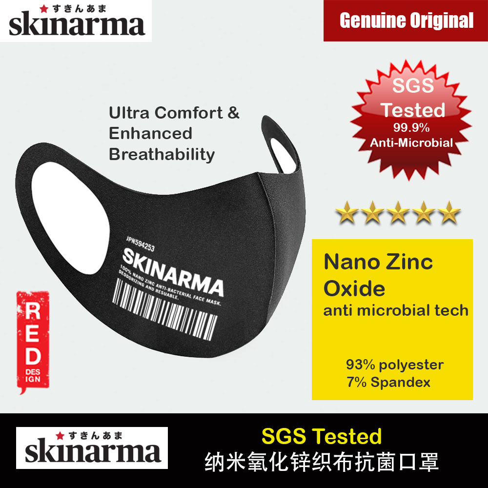 Picture of Skinarma Washable Stretchable Durable Fabric Comfort Fit Nano Zinc Oxide Anti Microbial Tech That Kills 99.9% Airborne Bacteria Reusable Face Mask with Airo Breathe Technology (KOKYU WHITE)