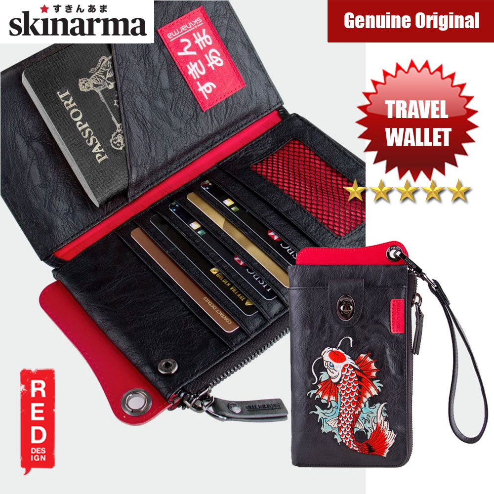 Picture of Skinarma Irezumi Travel Wallet with Strap Wallet with 7 inner card slots 2 Zip Compartments Passport Holder Front Clasp Pocket Stylish Travel Wallet (Jet Karp) Red Design- Red Design Cases, Red Design Covers, iPad Cases and a wide selection of Red Design Accessories in Malaysia, Sabah, Sarawak and Singapore