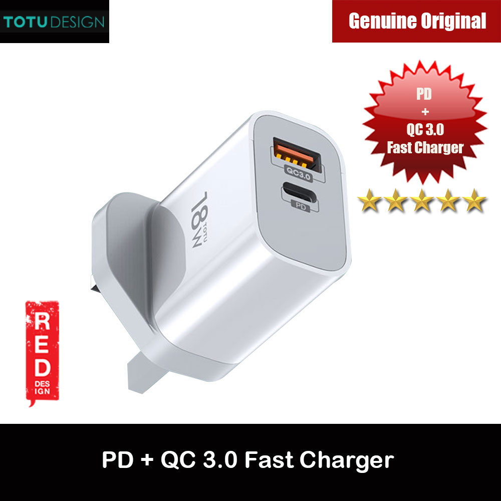 Picture of Totu PD18W Fast Charger UK Plug USB-C Type-C PD Output QC 3.0 Output Charger for iPhone 11 Pro 5.8 iPhone 11 Pro Max 6.5 Samsung Galaxy Note 8 Note 9 (White) Red Design- Red Design Cases, Red Design Covers, iPad Cases and a wide selection of Red Design Accessories in Malaysia, Sabah, Sarawak and Singapore
