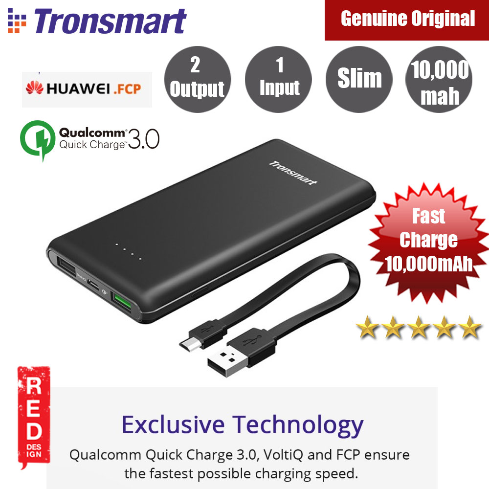 Picture of Tronsmart Presto 10000mAh Qualcomm Quick Charge 3.0 Huawei FCP Power Bank (Black) Red Design- Red Design Cases, Red Design Covers, iPad Cases and a wide selection of Red Design Accessories in Malaysia, Sabah, Sarawak and Singapore