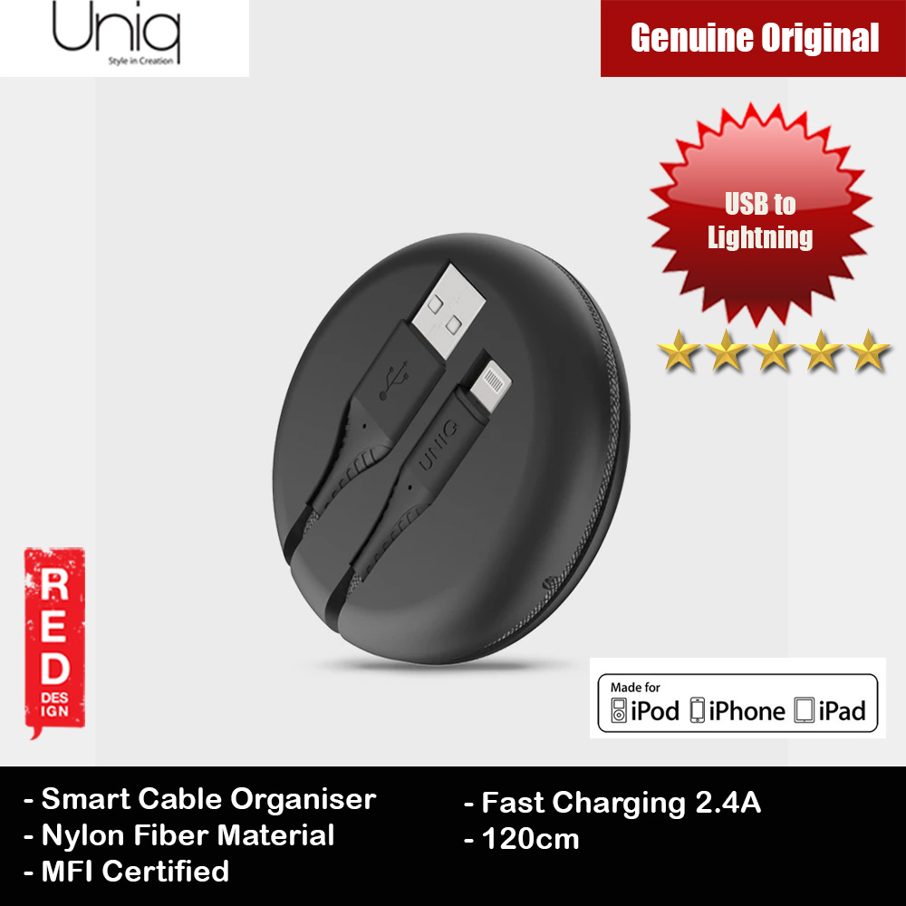 Picture of Uniq Halo 120cm Fast Charge Lightning Cable with Organiser (Black) Red Design- Red Design Cases, Red Design Covers, iPad Cases and a wide selection of Red Design Accessories in Malaysia, Sabah, Sarawak and Singapore